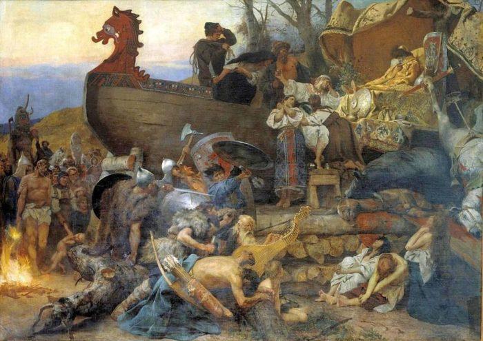 10世紀の船葬墓(19世紀の画)