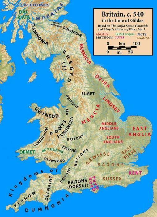 540年頃のブリテン島
