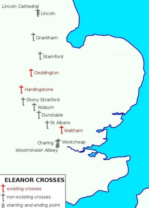 Map of Eleanor crosses